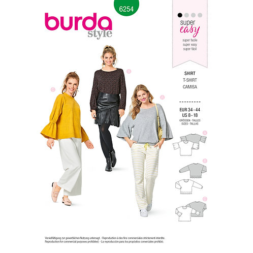 6254 Top for Stretch Knits, with Sleeve Variatio Burda Pattern