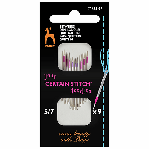 Pony Hand Sewing 'Certain' Needle, Betweens, Size 5-7