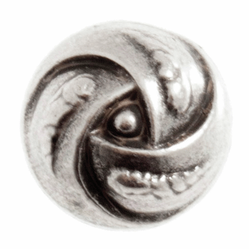 15mm Metal Rose Swirl Button: Silver