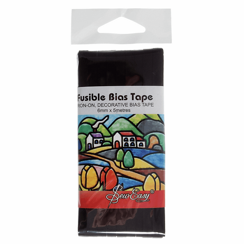 Fusible Bias Tape: 5m x 6mm: Black