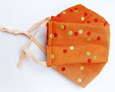 Face Mask Covering Orange ombre gold print