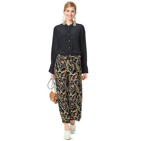 Burda Style Pattern 6250 Pants, Pull-On with Elastic Waist, Wide Leg, Cr