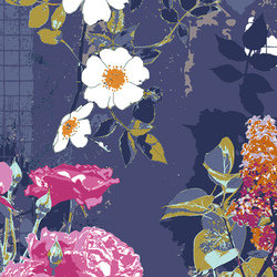 AGF Grid Navy large Floral Cotton Fabric