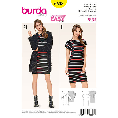 6608 Burda Pattern T-shirt Dress/Jacket