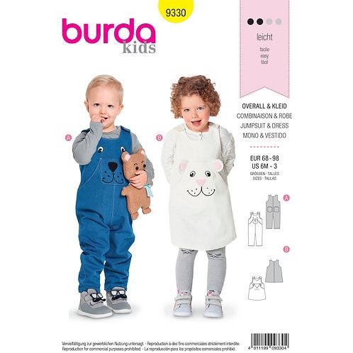 Burda Style B9330 Toddler's Suspender Pants & Pinafore