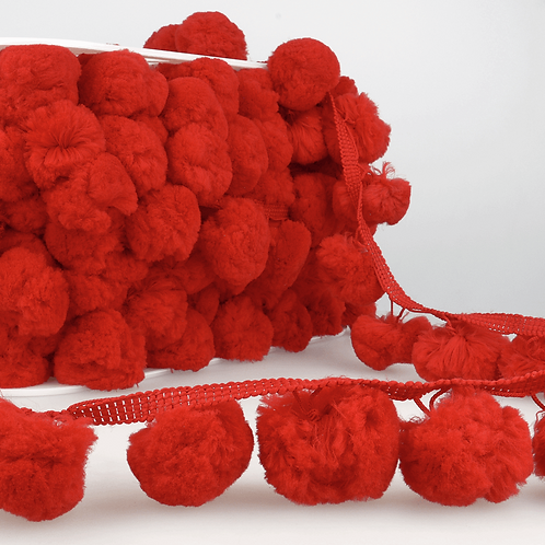 50mm Large Red PomPom Trim