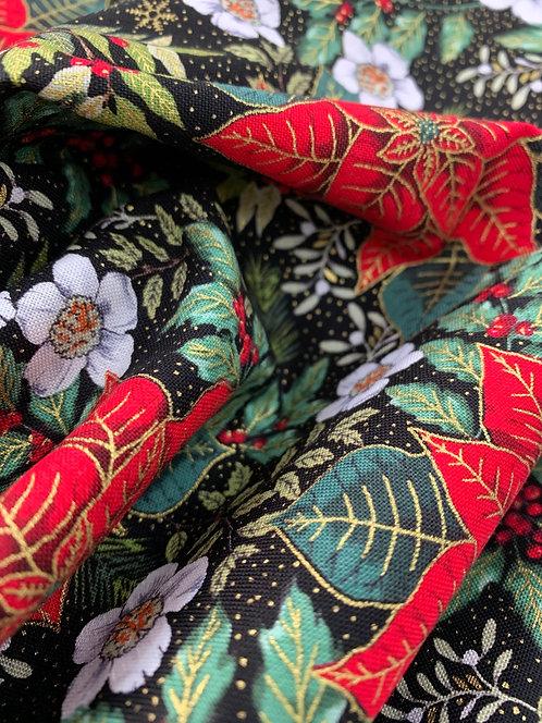 Festive foliage Poinsettia gold print cotton Fabric