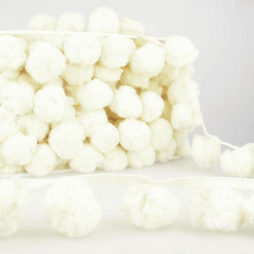 50mm Large Ivory Cream PomPom Trim