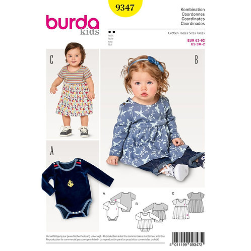9347 Baby's Dress and Bodysuit Burda Pattern
