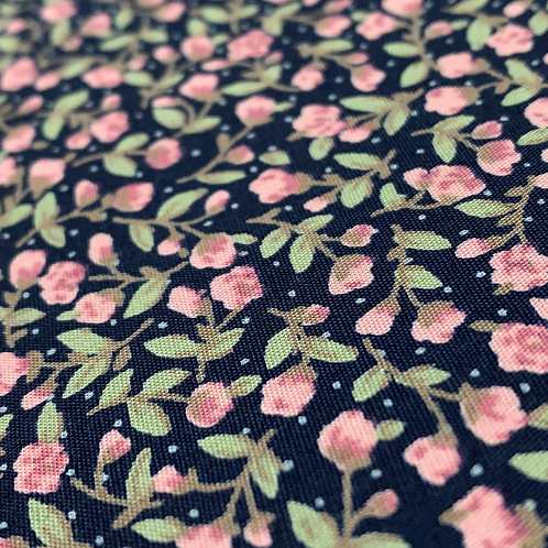 Rose & Hubble Ditsy Navy Floral Poplin Fabric
