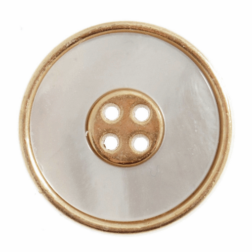 23mm Shell Effect Button: White/Gold