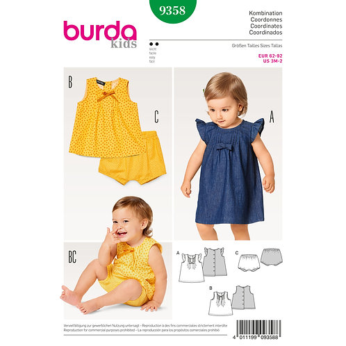9358 Baby Dress, Top and Panties Burda Pattern