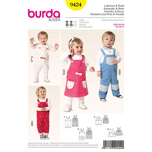Burda Style Pattern 9424 Toddler Outfits