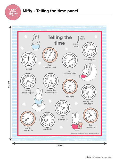 91cm Miffy Telling The Time PANEL