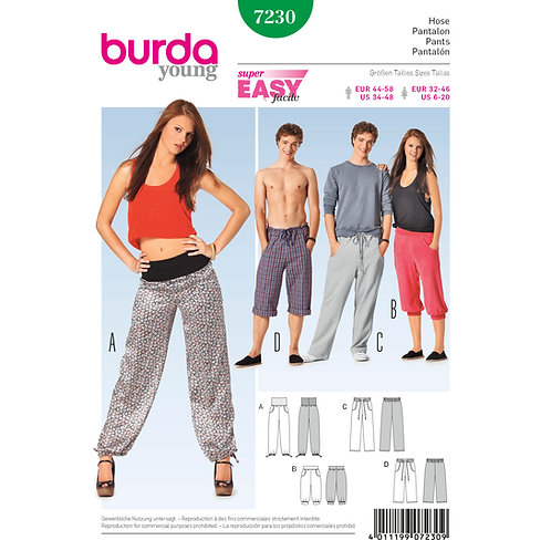7230 Burda Pattern Unisex Jog Sweat Pants