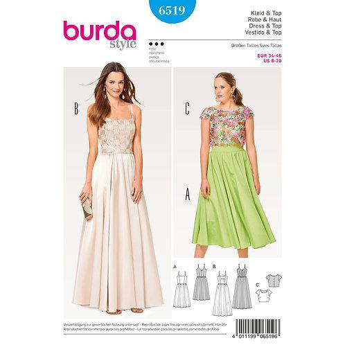6519 Lace Top Strap Dress Burda Pattern