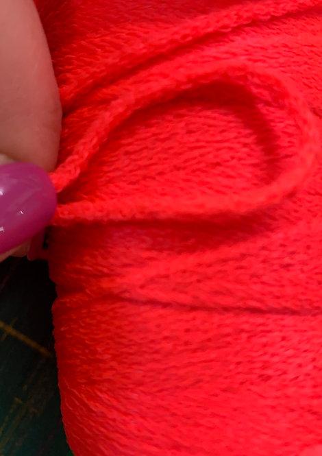 Neon Orange 2mm Fuzzy Cord Elastic by the metre