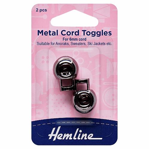 Toggle Cord Metal Black 6mm