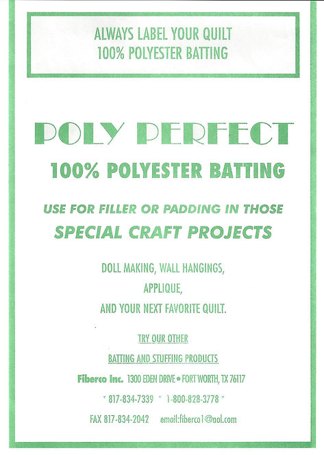 "Poly Perfect Wadding 60"" wide"
