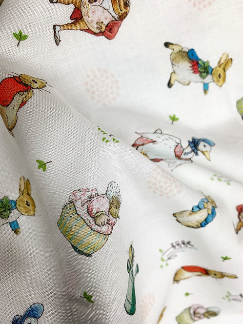 Peter Rabbit Characters from Beatrix Potter White Based Fabric
