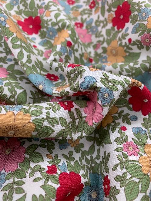 Red Rampling Wild Roses 100% Cotton Poplin Fabric