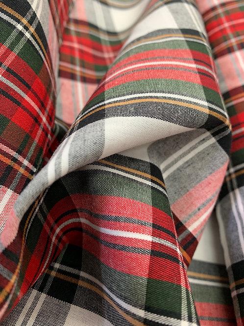 Red White Stewart style Tartan Fabric
