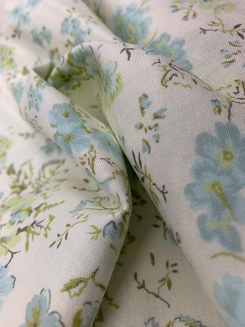 Dover Field Floral Linen White 100% Cotton Fabric by Moda