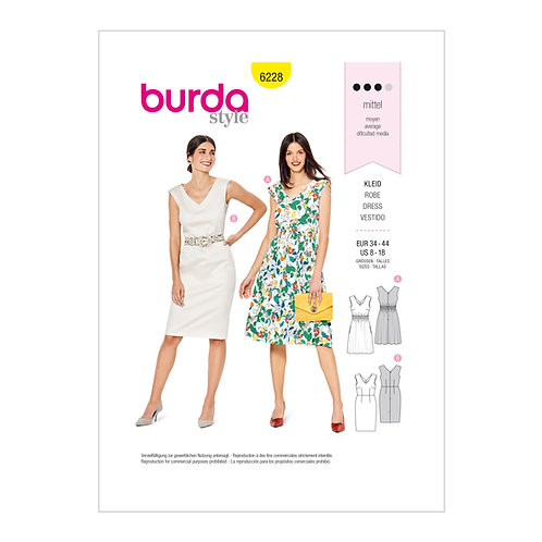 6228 Fitted Dresses Burda Pattern