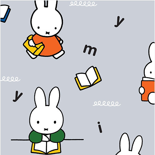 Miffy Writing Grey 100% Cotton Fabric