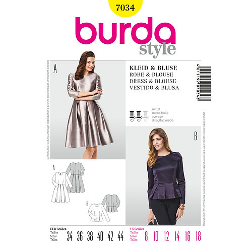 7034 Dress & Blouse Burda Pattern