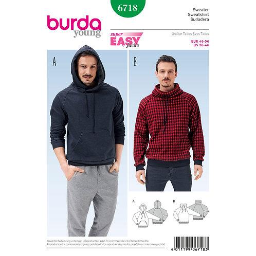 6718 Burda Pattern Men's Pullover Hoodie