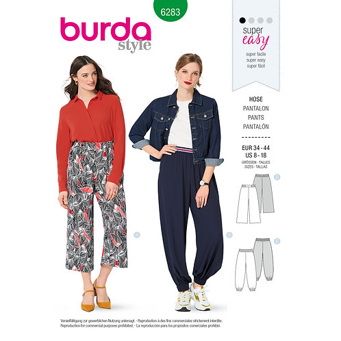 6283 Burda Pattern Misses' Pants, Pull-On, Harem Sports