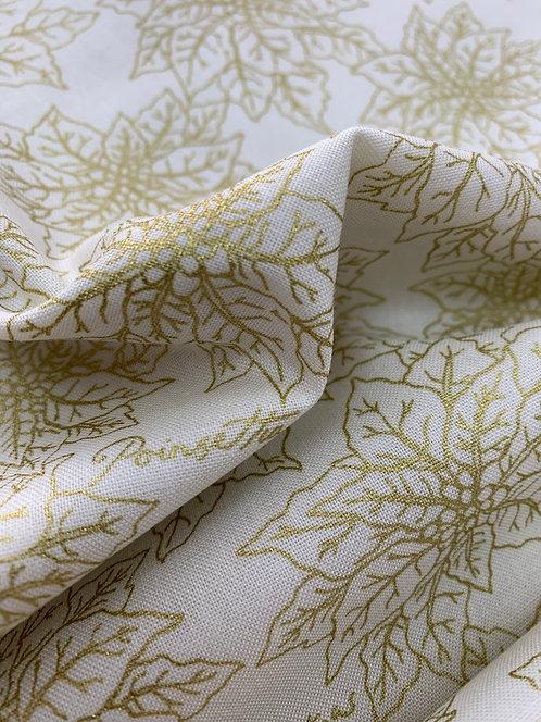 Poinsettia gold print cotton Fabric