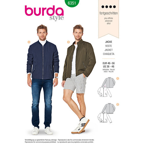6351 Burda Pattern Men's Bomber Jacket