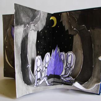 Le livre en étoile / dessin à l'encre// stage vacances d'automne 2017