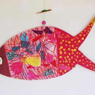 Drôles de poissons // peinture, collage & broderie // stage vacances d'automne 2018