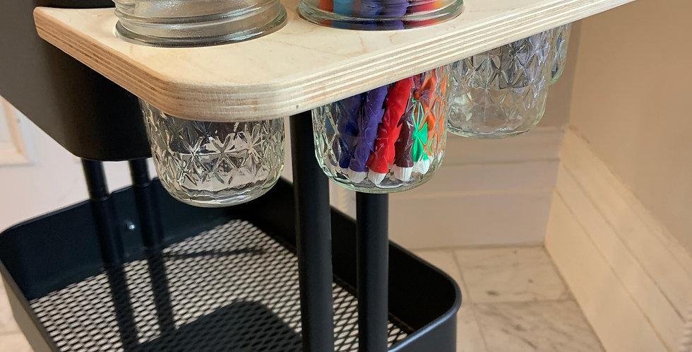 Side Storage Tray - Ikea Raskog Cart (Cups Included)