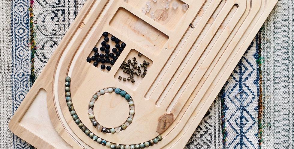 Hand-Crafted Wood Yoga Mala Bead Board - Jewelry Layout
