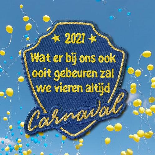 Embleem we vieren altijd carnaval Blauw/Geel