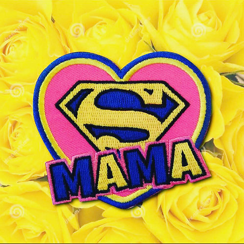 Embleem Super Mama (blauw/geel)