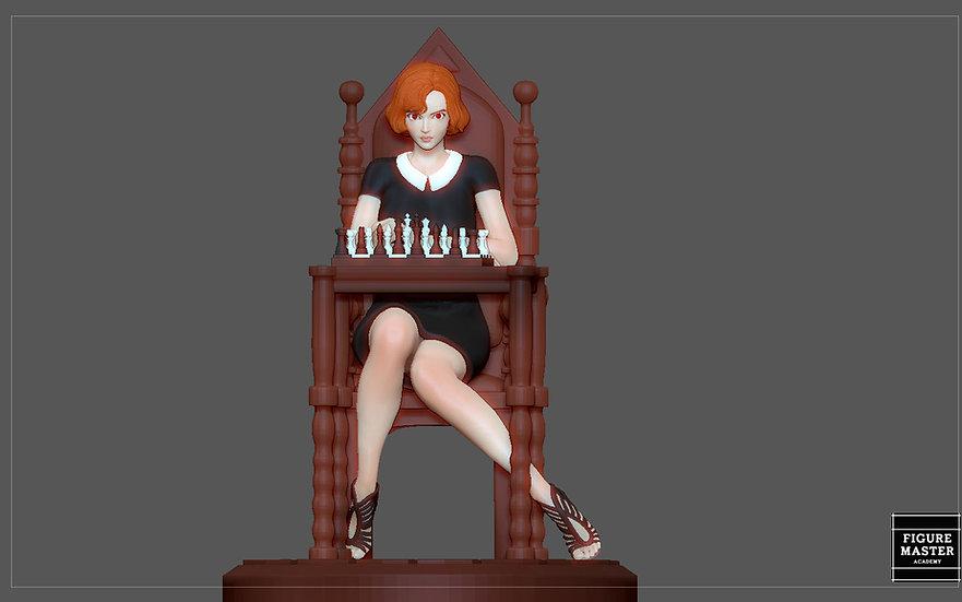 QUEENS GAMBIT ANYA TAYLOR JOY CHESS GIRL CHARACTER STATUE 3D print model