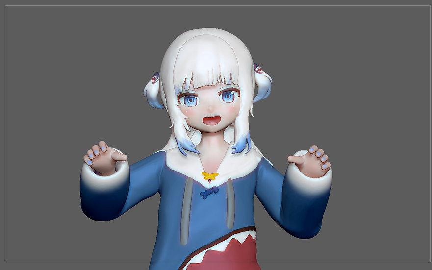 GAWR GURA NORMAL VERSION STATUE CUTE GIRL ANIME CHARACTER 3D PRINT MODEL