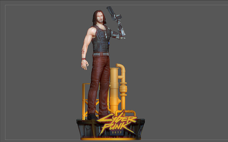 CYBERPUNK 2077 JOHNNY SILVERHAND STATUE GAME CHARACTER sexy keanu reeves