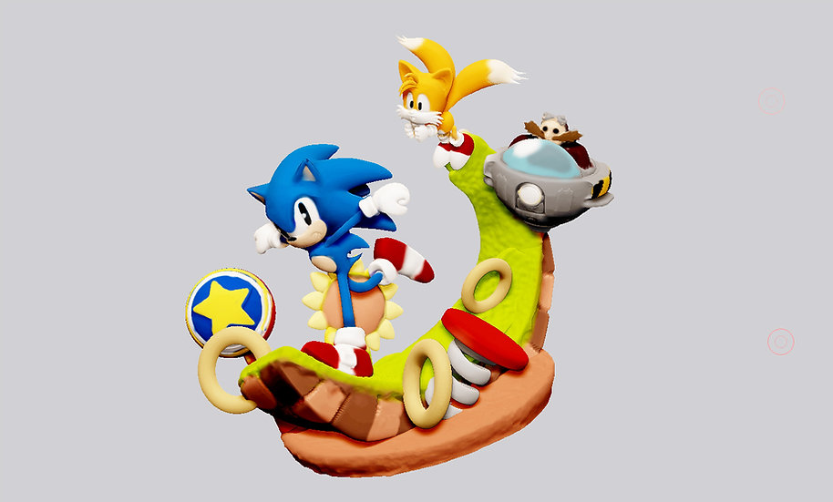 SONIC THE HEDGEHOG TAILS SEGA GAME STATUE FOR 3D PRINT