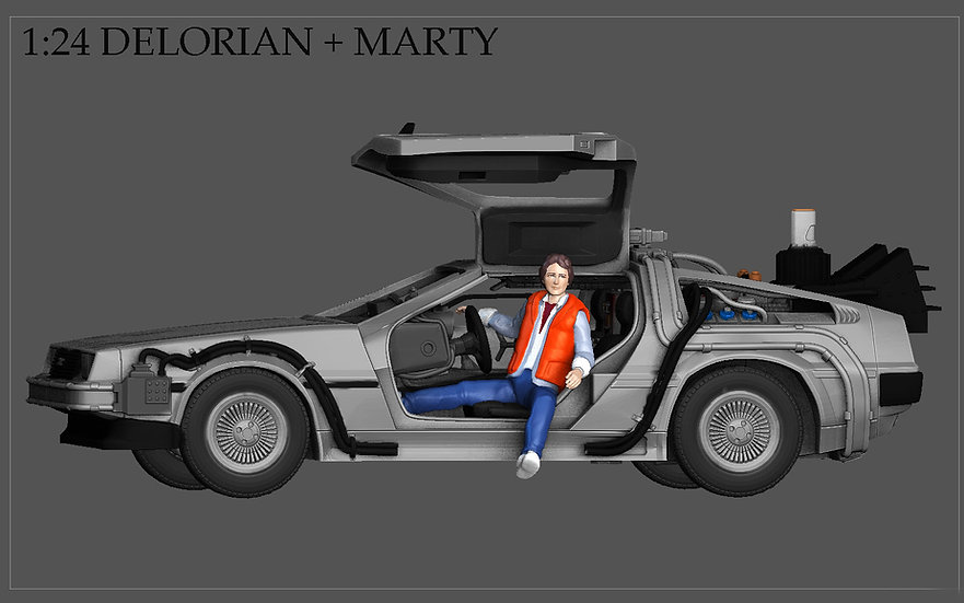 MARTY MCFLY DELORIAN BACK TO THE FUTURE FIGURINE MINIATURE