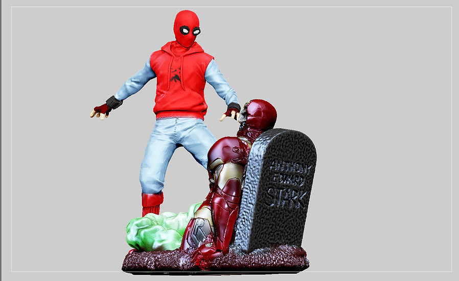 SPIDERMAN FARFROMHOME ZOMBIE IRONMAN HOMEMADE DRONE BATTLE STATUE FOR 3D PRINT