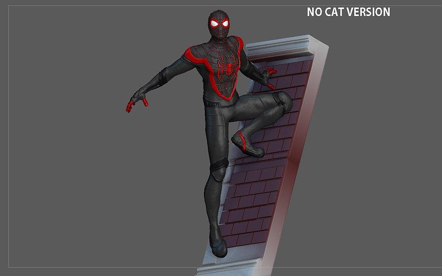 SPIDERMAN PS5 MILES MORALES SPIDERCAT STATUE WALL VERSION MARVEL 3D PRINT