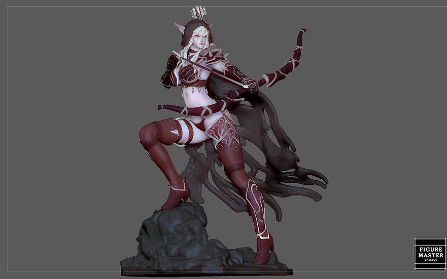 SYLVANAS WINDRUNNER warcraft wow female dark elf SEXY girl archer 3D print model