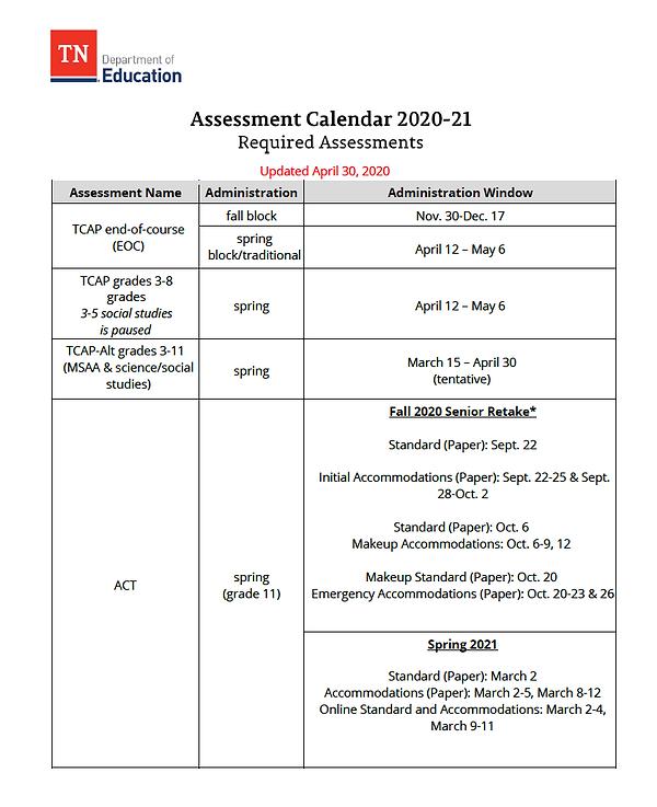 Assessment Calendar 20-21