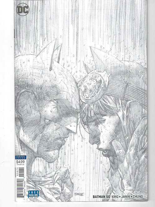 Batman #50 Wedding (DC Comics, 2018)  1:100 Jim Lee Variant Black & white cover